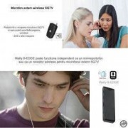 Microfon Profesional Wireless cu Reportofon Activare Vocala 32 Ore Clear HD 1024Kbps Magnetic Casti Incluse