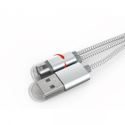 Cablu de date Ldnio breloc 2 in 1 usb magnetic pentru Lightning iphone/ipad si micro usb 13cm, argintiu