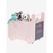 VERTBAUDET Caixa de arrumação com rodas rosa-claro liso com decoração