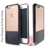 KC Premium Half Electroplated Soft Transparent Silicone TPU Case Back Cover for iPhone 8 Plus (Black)