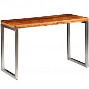 vidaXL Solid Sheesham Wood Dining Table Office Desk with Steel Leg