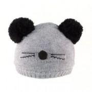 Caciula tricotata fete model Pisica C418-60 gri5-7 ani