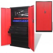 vidaXL Kovová skříň na nářadí s vyjímatelnou bednou černo-červená