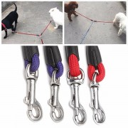48cm Dog Nylon Leading Leashes With 2 Buckles Pet Coupler Twin Leads Supplies