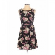 Three Pink Hearts Trixi Casual Dress - A-Line: Black Floral Dresses - Used - Size Small