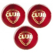 ABS 'Club Red' Leather Cricket Balls (Pack of 3) Cricket Ball - Size 5 (Pack of 3 Multicolor)
