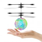 RC Flying Ball Toy, RUISIKIOU RC Toy,RC Infrared Induction Helicopter Ball with Rainbow Shinning LED Lights for Kids, Teenagers,Colorful Flyings for Kid's Toy (Green Flying Ball)