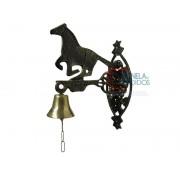 Sino em Bronze Decorado com Suporte Tema Cavalo