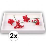 Rayher hobby materialen 24 Knutsel bloemen roos rood van satijn 12 cm
