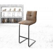 DELIFE Barstoel Maddy-Flex vintage bruin sledestoel vlak metaal