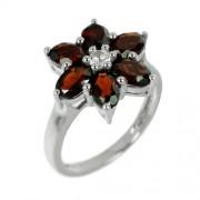 Silvego Stříbrný prsten ve tvaru květu s přírodním Granátem - RS-G36336
