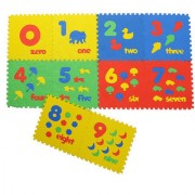 Colorful Kids play Puzzle style mat with Numbers numbers in words and images. set of 10 Pcs 12 X 12
