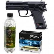 Set pistol airsoft Umarex HK USP 6 mm + 10 capsule CO2 + flacon 2700 buc bile 0.25 grame