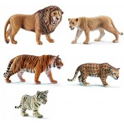Schleich Wild Cat Set Of 5 Together: Lion Roaring, Black Panther, Cheetah, Jaguar, Lioness