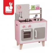 JANOD Drewniana kuchnia dla dzieci DUŻA różowa + akcesoria ZESTAW Macaron,