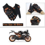 AutoStark Gloves KTM Bike Riding Gloves Orange and Black Riding Gloves Free Size For KTM RC 200