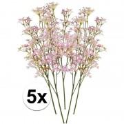 Bellatio flowers & plants 5 x Roze kroonkruid kunstbloemen tak 68 cm