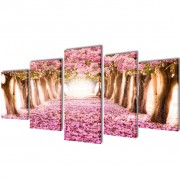 vidaXL Canvas Wall Print Set Cherry Blossom 100 x 50 cm