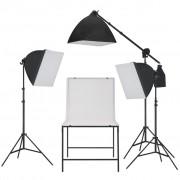 vidaXL Kit estúdio fotográfico com iluminação softbox e mesa