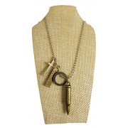 eshoppee Designer Antique Look Cross and Bullet Locket Pendant with Chain Necklace for Man and Women, Boys and Girls Dog tag. (Antique nk 36)