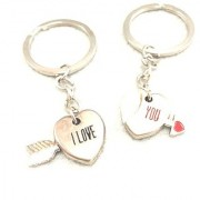 Trunkin VALENTINES COUPLE HEART KEYCHAIN HALF RED HEART LOVE PENDANT MAGNETIC KEYCHAIN