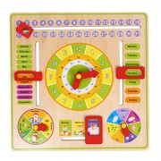 Crazy Crafts Wooden Clock, Calendar Days Month Week Season Weather All in one Multifunctional Learning Board for Kids with nobs