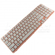 Tastatura Laptop Sony Vaio SVE15 alba cu rama roz + CADOU