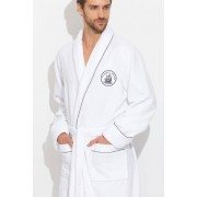 PECHE MONNAIE Стильный белый удлиненный мужской халат из бамбука класса Люкс PECHE MONNAIE №915 Белый