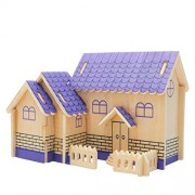 VolksRose® 3D Wooden Jigsaw Puzzle - Purple House - Children Educational Wood Craft Puzzles Toy DIY Kit for Child 3 Year and Up -- Perfect Christmas Gift for Your Kids