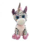 Jucarie de plus Unicorn roz, cu paiete reversibile, stralucitoare, multicolore, 33 cm