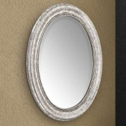 Oval wall mirror Willa with silver wooden frame