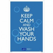 National Marker Pandemic Signage, Sign Message KEEP CALM AND WASH YOUR HANDS., Product Type Poster, Length 18, Model PST156C