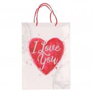 Merkloos Wit cadeautasje love you 34 x 25 cm