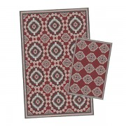 Korhani Gillam Outdoorteppich-Set 160x213 cm + 80x112 cm Schwarz Rot Mehrfarbig