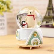 Royarebar Creative Baby Toys Music Boxes Cute Polar Bear in The Crystal Ball Rotating Music Box for Small Gift(Green Base)