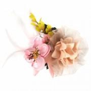 Merkloos Bruiloft haarbloemen roze/geel