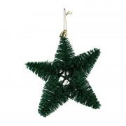 Xenos Kerstster met glitter - Groen - 11,5 cm