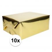 Shoppartners 10x Inpakpapier/cadeaupapier goud metallic 400 x 50 cm op rol