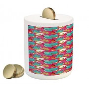 Poppy Coin Box Bank by Ambesonne, Abstract Illustration of a Flourishing Meadow with Hippie Flowers on Vivid Pink Color, Printed Ceramic Coin Bank Money Box for Cash Saving, Multicolor