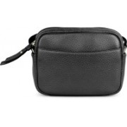 Da Milano Women Black Genuine Leather Sling Bag