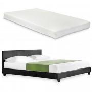 Corium® Franciágy matraccal Barcelona műbőr ágykeret kárpitozott design ágy hideghab matrac 180 x 200 cm fekete