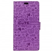 Nokia 8 Textured Wallet Case - Doodle - Purple