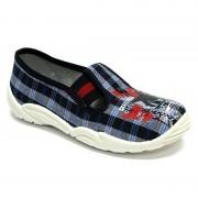 Pantofi baietel, din material textil, albastru inchis, in carouri, City