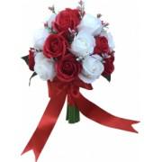 Buchet de flori 27 trandafiri albi si rosii handmade by EVENTISSIMI