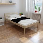 vidaXL Säng i furu 200 x 90 cm med memory foam madrass