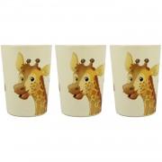 Merkloos 3x Melamine bekers giraffe wit/bruin 9 cm voor kinderen