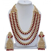 Lucky Jewellery Stunning Maroon Color Kundan Stone Gold Plating Layered Necklace With Matching Earring For Girls & Women