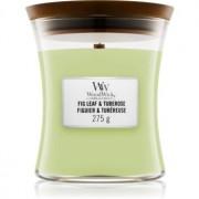 Woodwick Fig Leaf & Tuberose lumânare parfumată cu fitil din lemn 275 g