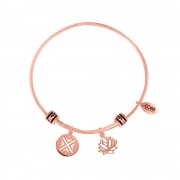 CO88 Armband Bangle Lotusbloem staal/rosé one-size 8CB-25010