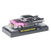 Chevrolet Bel Air, black with flame decor, 1957, Model Car, Ready-made, M2 Machines 1:64
